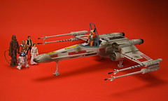 X-Wing on Yavin IV (richalot) Tags: starwars princessleia r2d2 c3p0 xwing lukeskywalker chewbacca hasbro yavin redbackground xwingfighter hansolor