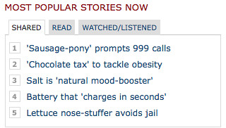 Strange selection of top stories from the BBC