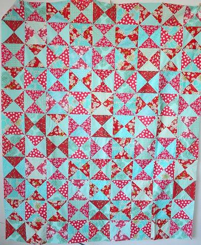 red+aqua quilt top