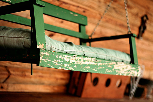 green porch swing