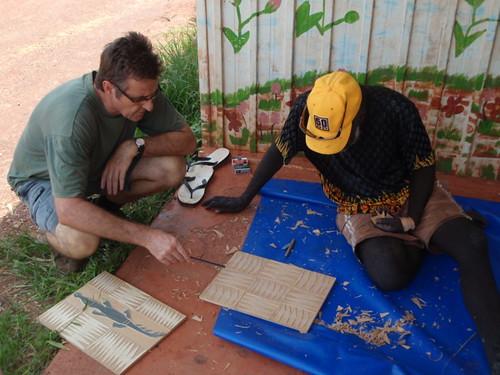 Basil and Peter Datjing discuss his blocks