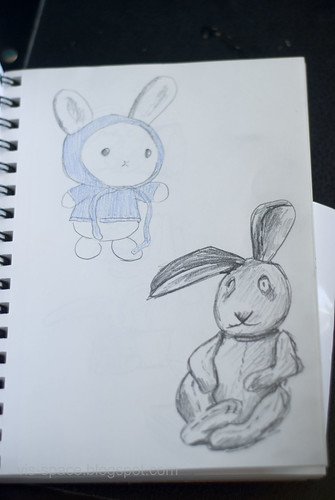 Sketching for a child's rabbit painting.