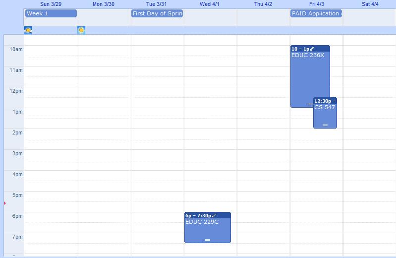 Spring Quarter Schedule