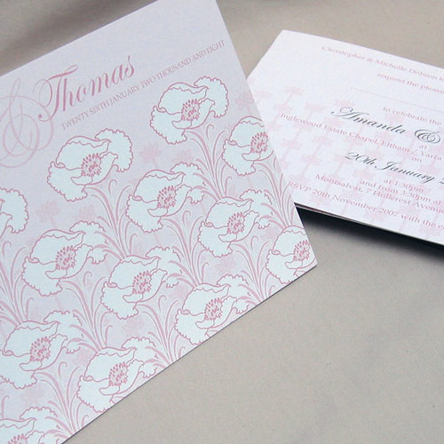 Nouveau pink wedding invitation from mini Moko, Nouveau Wedding invitation idea, wedding invitation design sample, wedding invitation, flowers, photos
