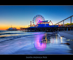 Santa Monica Beach Reflections (szeke) Tags: ocean california city sunset urban beach water landscape pier losangeles pacific santamonica wave ferriswheel hdr photomatix supershot anawesomeshot qualitypixels