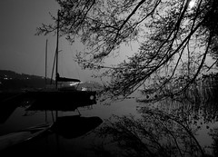 Looooong exposure night (Matteo De Stefano) Tags: trees sky moon lake night boat tripod f8 30s reflextion caldonazzo d700 matteodestefano trentoasa