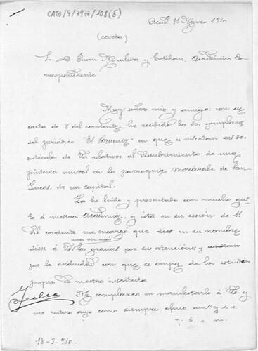 Carta de agradecimiento a Juan Moraleda Esteban por el envío del descubrimiento de ua pintura mural en la iglesia de San Lucas de Toledo