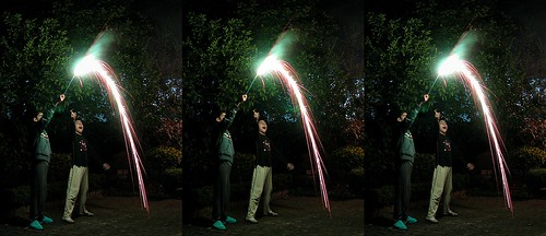 Firework_Triplet 3d stereo picture
