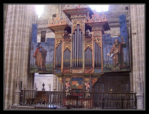 Organo de la Epístola de la Catedral Nueva de Salamanca visto desde el otro órgano