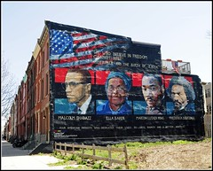 """We Who Believe in Freedom Cannot Rest"" (Tony Fischer Photography) Tags: street houses usa house black art philadelphia painting freedom us mural king shot unitedstates pennsylvania douglass row africanamerican malcolmx martinlutherking frederickdouglass malcolmshabazz ellabaker"