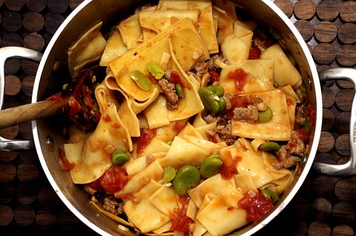 pasta with favas and sausage