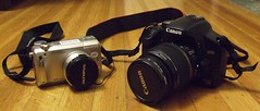 Out with the old and in with the new! (ajfis2) Tags: camera olympusc770 canoneosxsi