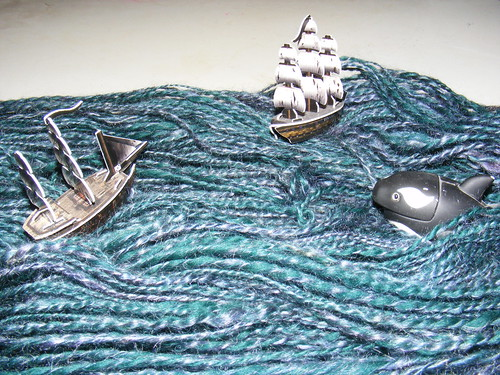 Sailing on a sea of yarn (about to be attacked by monster)