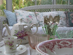 Look What I Found... (nbklx17 (Sandy)) Tags: china pink green floral vintage antique teapot cottagestyle teatime keepsakes sunroom transferware mismatched depressionglass sunporch shabbychic girlygirl morestuff dustcatchers whitewicker teacupandsaucer familytreasures oldsilver depressionglasscreamer