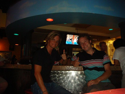 Nicolai and Robby at the Mellow Mushroom Restaurant.