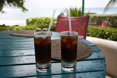 Two malibu and cokes... (Kina Balu 2) Tags: ice cola straw coke malibu barbados condensation straws