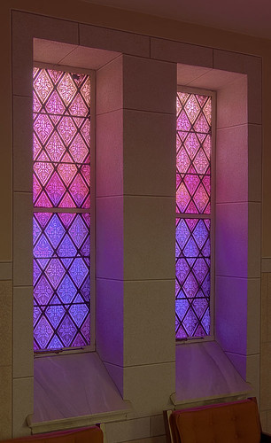 Saint Joseph Roman Catholic Church, in Freeburg, Illinois, USA - purple stained glass window