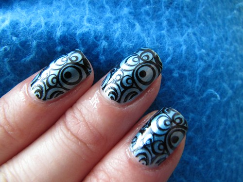 m60 Black and Blue Konad Swirls