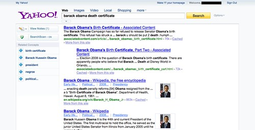 New Yahoo! search results layout