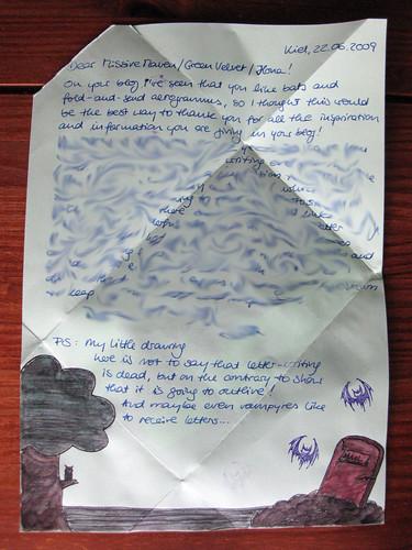 Folded spooky letter-gram