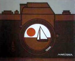 Marushka - camera and sailboat (brown, white, orange)