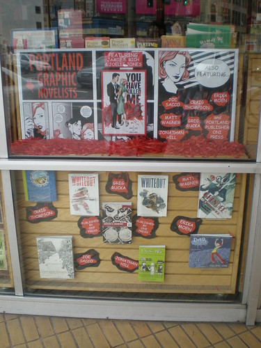 Powell's window display - YOU HAVE KILLED ME 1