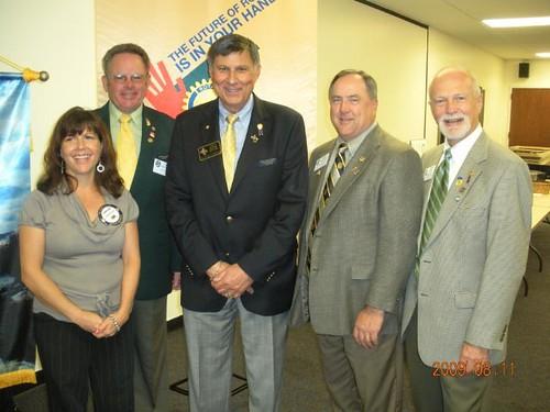 Club President Christine Newton, Jim Jeselnick, District Governor Floyd Lancia, DG Elect Steven G. Van Scoik, and Jerry Phelps
