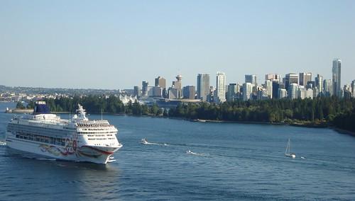 Norwegian Sun Passes Vancouver Skyline and Stanley Park en route to Alaska