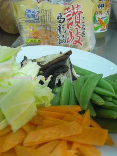 你拍攝的 1日式烏龍麵材料。