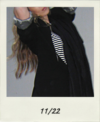 black outfit, black and white stripes, black wedges, black leggings, black over sized blazer, 11-22 outfit+what I wore