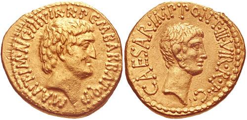 Mark Antony and Octavian. Spring-early summer 41 BC. AV Aureus (19mm, 8.04 g, 12h