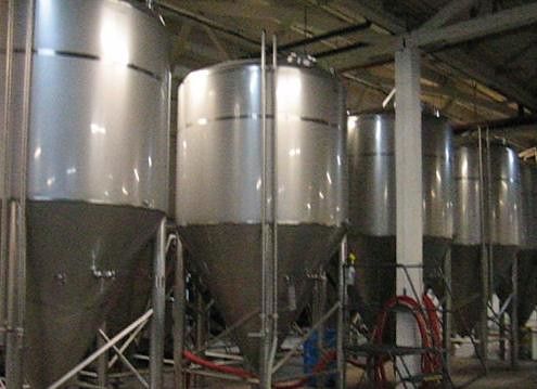 There are five 120-barrel fermenters and five 60-barrel fermenters, for fermenting single and double batches.