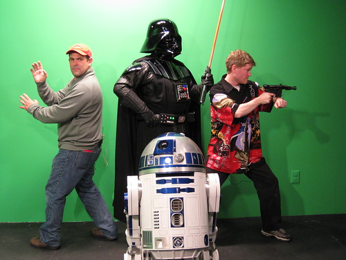 Patrick and Dave with Systm guests, Darth Vader and R2D2
