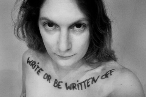 nude woman with write or be written off