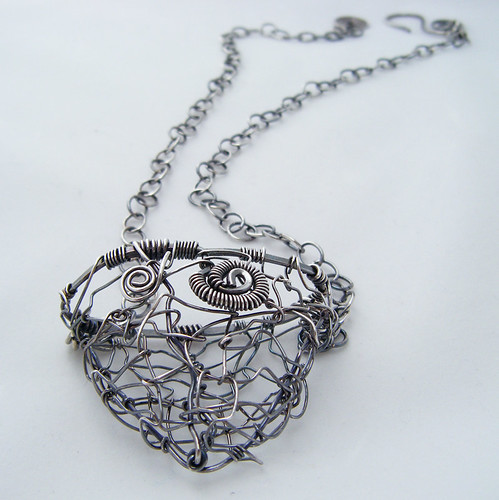 Wired Vessel - Contemporary Freeform Sterling Silver Wire Wrapped Pendant Necklace