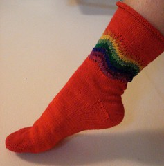 Toe-up Feather & Fan Rainbow socks