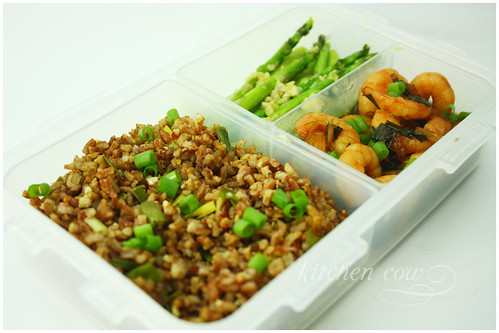 Sauteed Asparagus, Shrimp in Soy Sauce and Aligue Fried Rice Bento