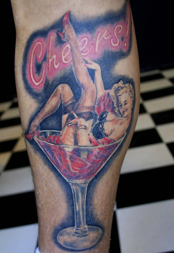 Champagne Pin Up Girl Tattoo