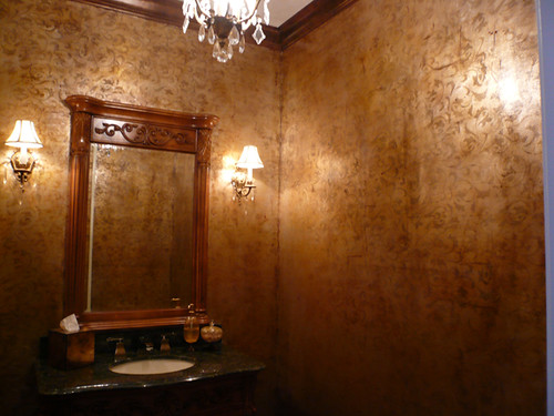 Gold Scroll All Over Powder Room