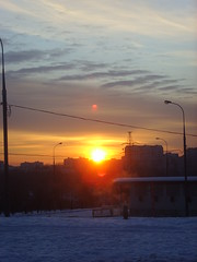 Sunset () Tags: street city blue winter sunset orange snow lamp clouds buildings dark russia moscow steam poles saburovo