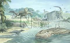 sebecus el terrestre, purussaurus nadando, y otros, creo que de Sibbick, perdón si no es de él