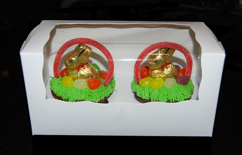box of easter basket cupcakes