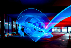 Blue with a Dash of Red for good measure (www.bazpics.com) Tags: led light stick ledlenser parking garage parkhaus trail stream streak movement longexposure atomicaward platinumheartaward blue winner competition ribbon licht pain draw grafitti paint somethingblue glowstick glowsticks