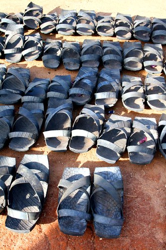 Shoes of old car tyres