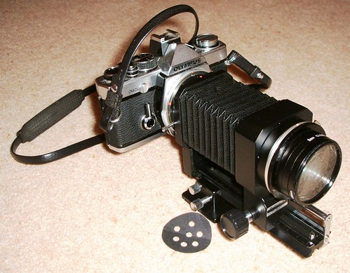 OM2 with bellows and +4 +4 and +1 close-up lenses