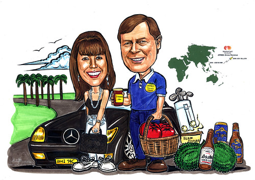 Couple caricatures for Mastercard Mr & Mrs Sekulic detail in colour (revised 1)
