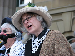 An Edmonton Raging Granny (Grant Neufeld) Tags: rally protest alberta activism healthcare legislature activist raginggrannies albertalegislature friendsofmedicare