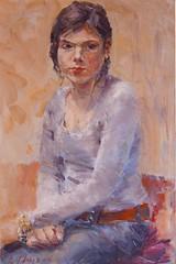 Peter Thijs 2006 'Lotte Grimbel-Dubois'  olieverf op doek 60x40 cm