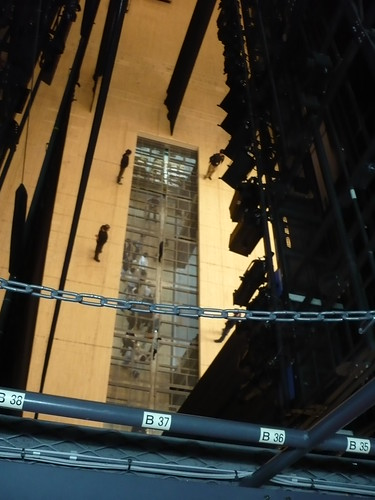Looking down at the stage