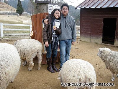 Rachel and I with the sheep